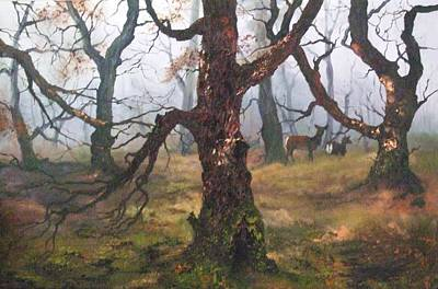 Painting - The Ancient Oak And Birch Forest by Jean Walker