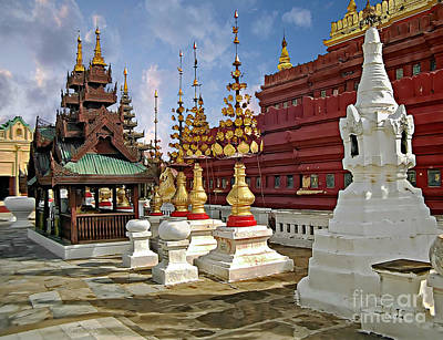 Photograph - The Ancient Shwezigon Pagoda - Partial View by Gabriele Pomykaj