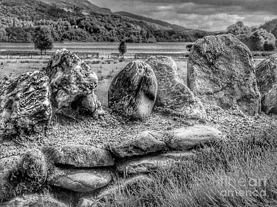Photograph - The Ancient Stones At Loch Achray In Greyscale by Joan-Violet Stretch