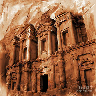 Petra Painting - The Ancient Treasury Petra by Gull G