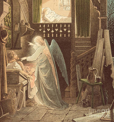 Christianity Drawing - The Angel Appearing To Joseph by Victor Paul Mohn