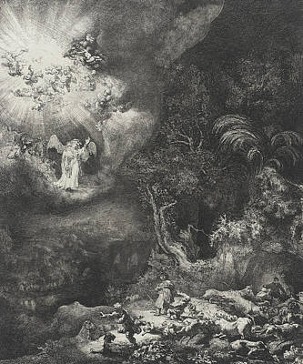 Shepherd Drawing - The Angel Appearing To The Shepherds by Rembrandt
