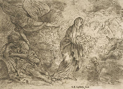 Relief - The Angel Awakening Joseph To The Presence Of The Virgin And Child by Giovanni Benedetto Castiglione