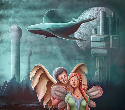Flying Whale Painting - The Angel Necklace And The Princess Fairy by Rui Barros