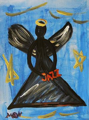 Angel Blues Drawing - The Angel Of Jazz by Mary Carol Williams
