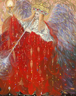 Red Gown Drawing - The Angel Of Life by Annael Anelia Pavlova