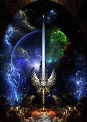 Digital Art - The Angel Wing Sword Of Arkledious Space by Xzendor7