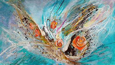 Painting - The Angel Wings #10. The Five Roses by Elena Kotliarker
