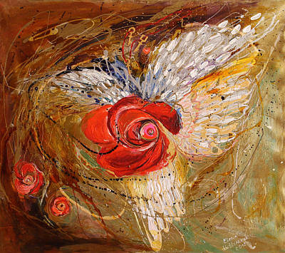 Jewish Artist Painting - The Angel Wings #7. Mistery Of Three Keys by Elena Kotliarker