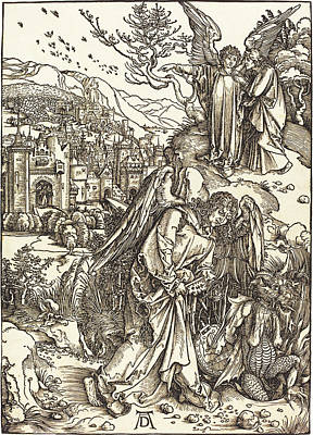 Drawing - The Angel With The Key To The Bottomless Pit by Albrecht Durer