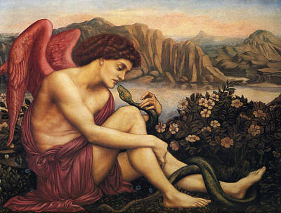 Angel Art Painting - The Angel With The Serpent by Evelyn de Morgan