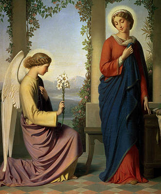 Spindles Painting - The Angelic Salutation by Eugene Emmanuel Amaury-Duval