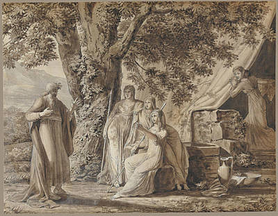 Louis Gauffier Drawing - The Angels Appearing To Abraham by Louis Gauffier