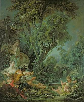 The Angler Art Print by Francois Boucher