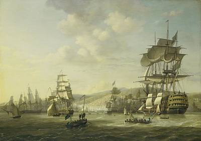 Painting - The Anglo Dutch Fleet In The Bay Of Algier by R Muirhead Art