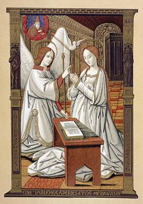 Annunciation Drawing - The Annunciation. After A Miniature by Vintage Design Pics