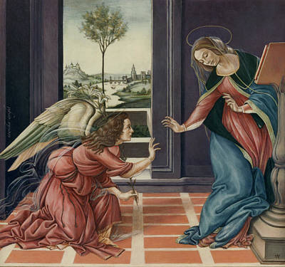 Replica Painting - The Annunciation After Botticelli by Yvonne Wright