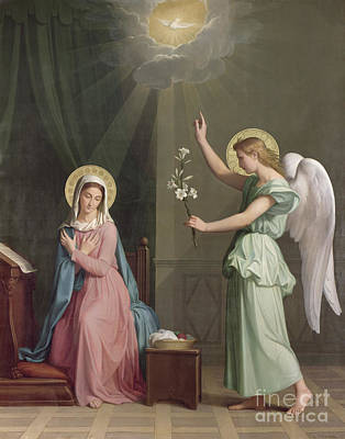 Lilies Painting - The Annunciation by Auguste Pichon