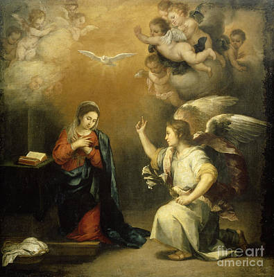 Bible Drawing - The Annunciation To Mary by Celestial Images