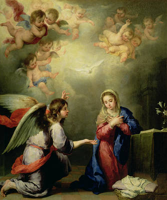 Testament Photograph - The Annunciation by Bartolome Esteban Murillo