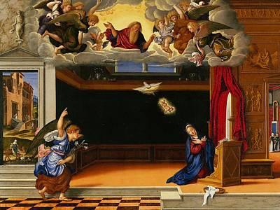 Interior Scene Painting - The Annunnciation by Girolamo da Santacroce