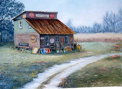 Pepsi Sign Painting - The Antique Store by Sue Coley