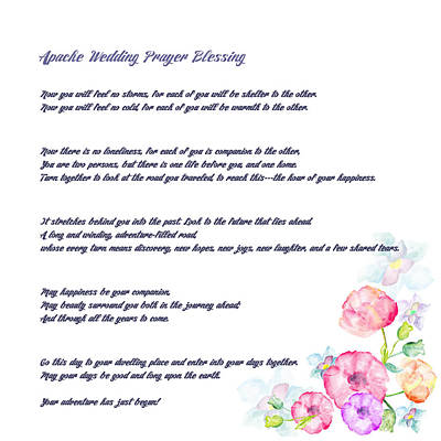 Blessings Drawing - The Apache Wedding Blessing - Long Version by Celestial Images