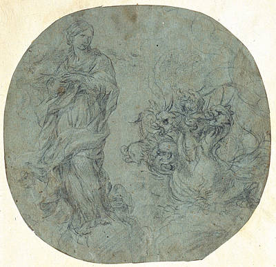 Drawing - The Apocalyptic Woman With The Dragon by Lazzaro Baldi