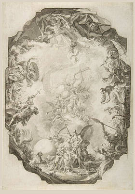Drawing - The Apotheosis Of A Saint. Project For A Ceiling  by Johann Anwander