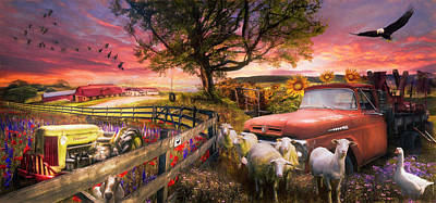 Photograph - The Appalachian Farm Life Sunset Painting by Debra and Dave Vanderlaan