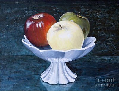 The Apple Dish Art Print by Dinny Madill