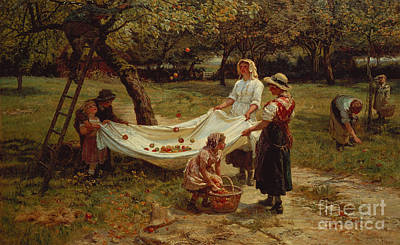 Gathering Painting - The Apple Gatherers by Frederick Morgan
