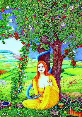 Colored Pencil Painting - The Apple Lady Welcomes You by Jane Tripp