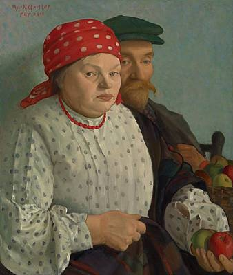 Heavy Woman Painting - The Apple Woman And Her Husband by Mountain Dreams