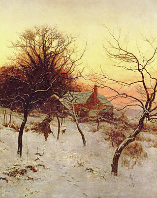 House Pet Painting - The Approach Of A Winter's Night by Edward Wilkins Waite