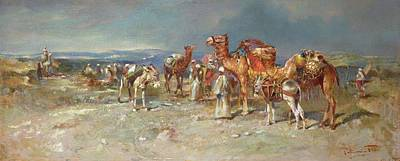Italian School Painting - The Arab Caravan   by Italian School