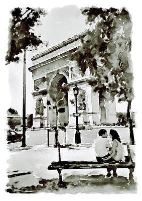 Man And Woman Mixed Media - The Arc De Triomphe Paris Black And White by Marian Voicu