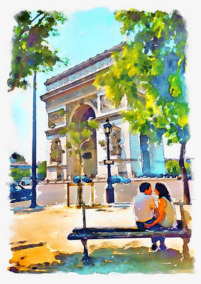 Mixed Media - The Arc De Triomphe Paris by Marian Voicu