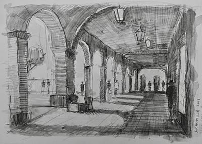 Pueblo Drawing - The Arcade, San Miguel De Allende by Jack Hannula