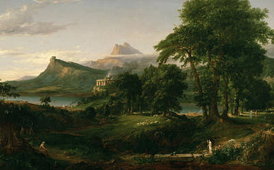 Pastoral Landscape Painting - The Arcadian Or Pastoral State by Thomas Cole