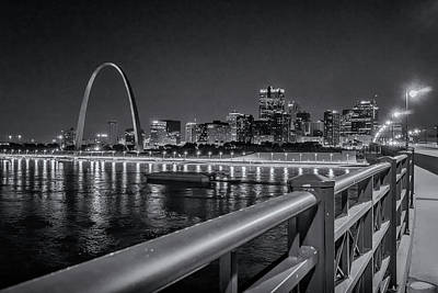 Photograph - The Arch From Eads Bridge Black And White_dsc0195 by Greg Kluempers