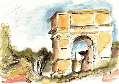 Sepia Ink Drawing - The Arch Of Titus by Karina Plachetka