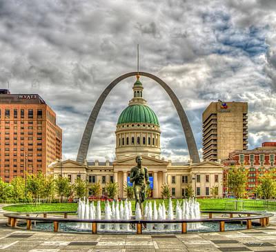 Photograph -  The Arch St Louis Gateway Arch Old St Louis County Court House St Louis Missouri Art by Reid Callaway