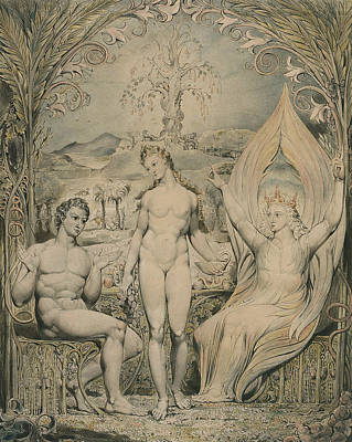 William Blake Painting - The Archangel Raphael With Adam And Eve  by William Blake