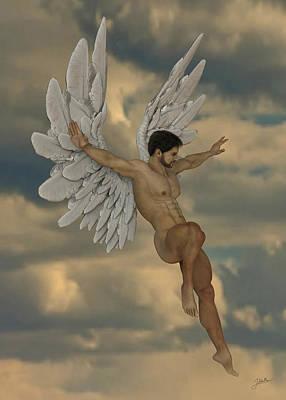 Fine Art Nude Digital Art - The Archangel Uriel by Joaquin Abella