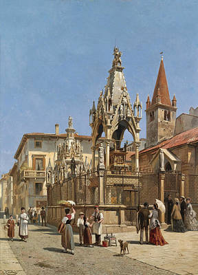 Painting - The Arche Scaligere. Verona by Jacques Carabain