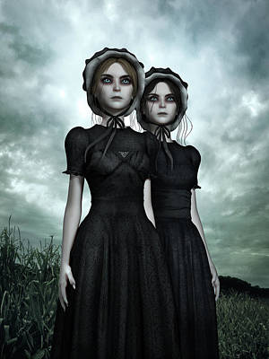 Bizarre Mixed Media - They Are Coming - The Halloween Twins by Britta Glodde
