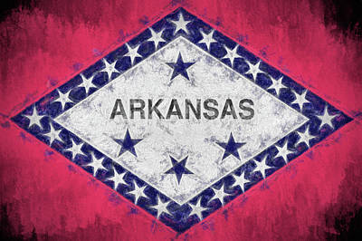 Photograph - The Arkansas Flag by JC Findley