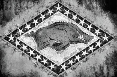 The Arkansas Razorbacks Black And White Print by JC Findley