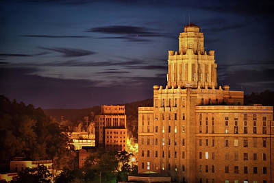 Arkansas Photograph - The Arlington Hotel At Night - Hot Springs Arkansas - Cityscape View by Gregory Ballos